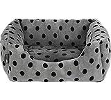 Petface Grey and Black Dots Square Dog Bed - Medium