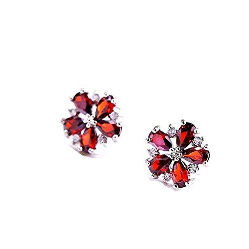 anazoz-gioielli-donna-orecchini-fantasia-placcato-oro-bianco-vintage-floral-pierced-rosso-orecchini-