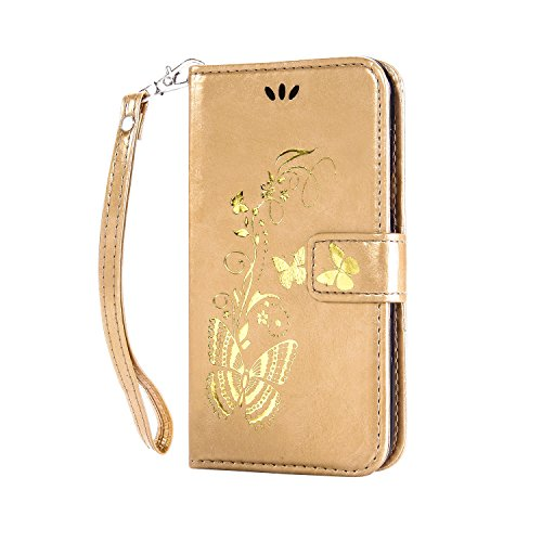 Anlike Samsung Galaxy S3 mini I8190 (4 Zoll) Hülle, Schutzhülle für Samsung Galaxy S3 mini I8190 (4 Zoll) Wallet Tasche [Butterfly geprägte Serie Bronzing] Handyhülle - Gold -