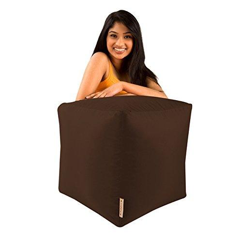 Sitzsack-Hocker Bar B Cube, Braun, für Innen- und Außenbereich, wasserdicht