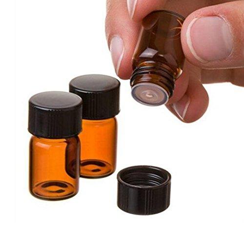 echo-ove 24 Stück (5/8 Dram) 2 ml Bernstein Mini Glas Ätherisches Öl Flasche mit Orifice Reducer und Kappe für ätherische Öle, Parfüme, Labor, Chemikalien 5/8 Glas