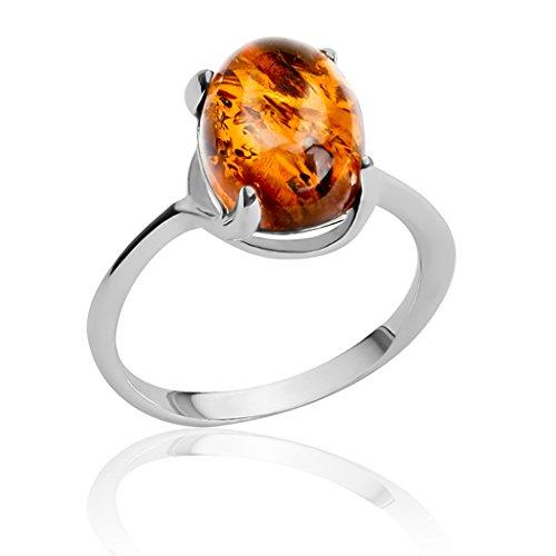 Grande anello ovale, argento sterling e ambra, Argento, 52 (16.6), colore: Yellow, cod. 33754r-6