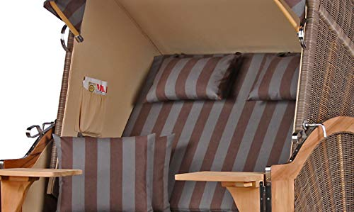 Komplettset – Strandkorb Teakholz Volllieger Strandstuhl Gartenliege Liegestuhl PE Geflecht Grey Seeblick TEAK Dessin 516 inkl. 4 Kissen + Wechselpolster – Strandkörbe aus Teak