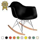 MOBISTYL 1 x Fauteuil à Bascule Rocking Chair Eiffel Pieds Bois Clair Assise Noir RARL-NO-1