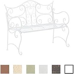 CLP Banc de Jardin Tara - Banquette de Jardin Fer Forgé Style Rustique - 2 à 3 Places - Banquette Confortable - Couleur: Blanc