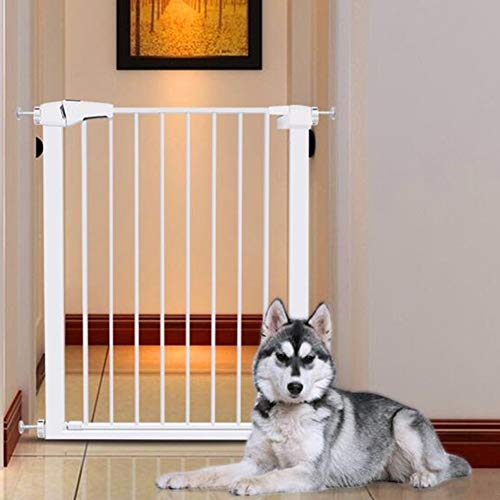 Baby Gates for Stairs - Extra Wide Walk Through Pet Gate with Door, Height 96cm, Width 75-172cm, White (Size : Width 165-172cm)  qiangzi