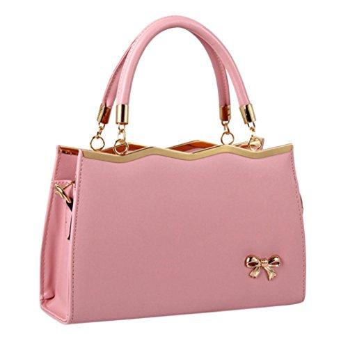 tianranrt Fashion Frauen PU Leder Prägung Schleife Weiche Griff Handtasche Crossbody Bag Umhängetasche Messenger Bag Tragetaschen rose 30cm(L)*10cm(W)*20cm(H) (Satchel Leder-print)