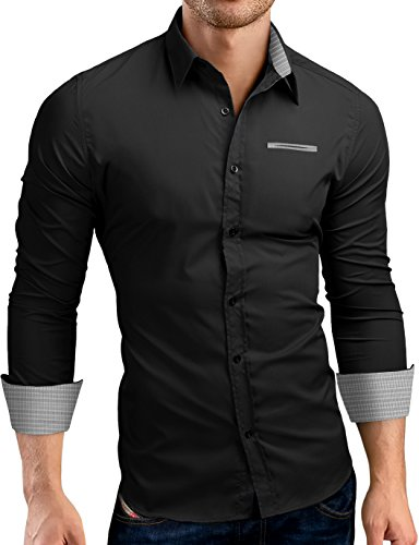 Grin&Bear Slim Fit Shirt Hemd Herrenhemd Kontrast Fake Pocket, schwarz, S, SH00566 - Fake-krawatte