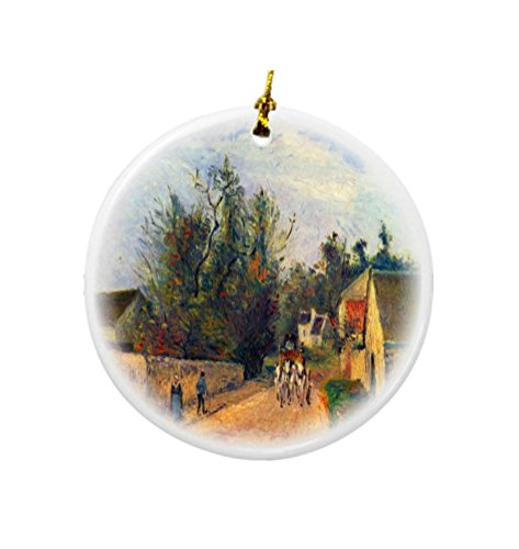 rikki-knight-camille-pissarro-art-stagecoach-design-round-porcelain-two-sided-christmas-ornaments
