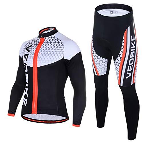 SonMo Radfahren Jersey Set Fahrradbekleidung Set Schutz Radjacke + Fahrradhose Langarm Radtrikot mit Sitzpolster Reflektorstreifen Schwarz&Weiß S