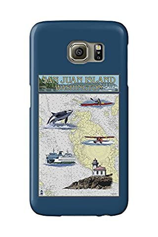 San Juan Island, Washington - Nautical Chart (Galaxy S6 Cell Phone Case, Slim Barely There)