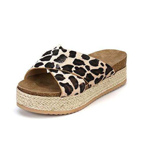 Donna Sandali Plateau con Zeppa Estive Punta Chiusa Pantofole Scarpe con Tacco 6CM Elegant Comode Vintage Infradito Espadrillas Leopardo 39