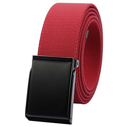 KYEYGWO Unisex Gürtel Verstellbar Einfarbig Stretch Elastisch Web Gürtel mit Flip Top Metallschnalle, Rot