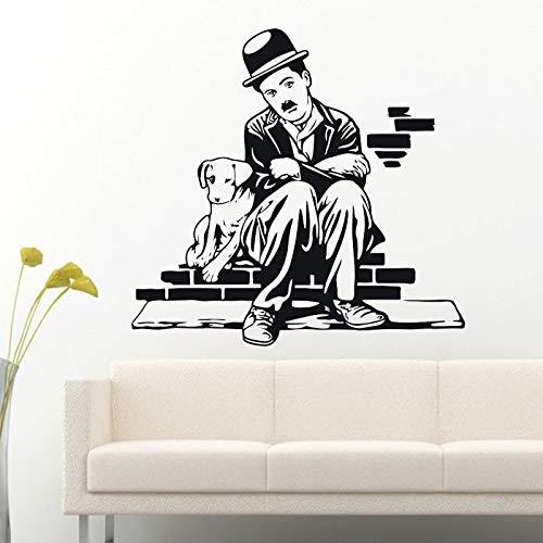 guijiumai Decorazioni d'Arte e Vita da Cani Adesivi murali Vinile Stella del Cinema Decalcomania Decorazione della casa Sala da Pranzo Decalcomanie da Muro Nero 86 x 90 cm