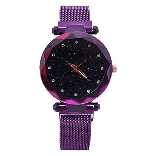 gaddrt Uhren, Frauen Arbeiten Edelstahl-Band-analoge Quarz-Runde Armbanduhr-Uhren um (lila)