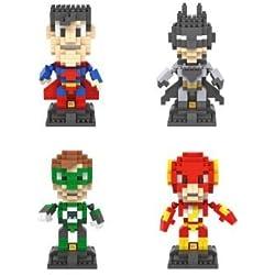 The Justice League DC Comics Super Heroes - Bloques de Construcción - 4 Carácter Micro Nano Diamond Minifigure Set ladrillo - Niños juega el regalo Hazlo Tu Mismo (Batman, Superman, The Flash, Green Lantern)