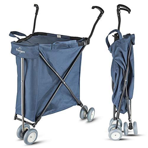 Freshore Lebensmitteleinkaufswagen mit Rädern - zusammenklappbarer Push-Folding-Kombiwagen 丨 Wäschewagen-Träger mit flexiblem Mode-Design (dunkelblau)