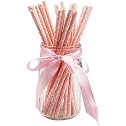 Uasae Pajitas de papel para beber pajitas de lunares, coloridas, desechables, respetuosas con el medio ambiente, para cumpleaños, bodas, fiestas, 25 unidades, Rosa, Small