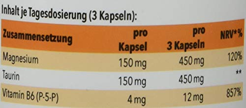 Zelltuning Magnesium-Komplex, MagneZell Aktiv Magnesium, OPTIMAL BIOVERFÜGBAR, Pur Vegan Rein, 120 Kapseln Hochdosiert, 6 FACH Magnesium Komplex + Vitamin B6 + Taurin, OHNE Magnesiumstearat!