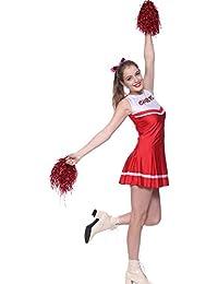 MABOOBIE Robe Debardeur Evasee Plissee Cheerleader Uniforme 2 Pompoms Rouge et Blanc S(30-32)/M(34-36)/L(38-40)