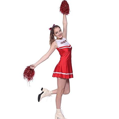 MABOOBIE Robe Debardeur Evasee Plissee Cheerleader Uniforme 2 Pompoms Rouge et Blanc