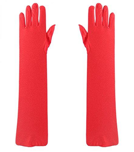 Foxxeo 35200   rote lange Handschuhe für Damen 20er Jahre Party Karneval Fasching Charleston ()