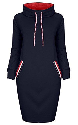 ECOWISH Damen Elegant Rollkragen Pullover Langarm Strickpulli Sweatshirt Midi Kleider mit Taschen Navy Blau M
