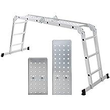 Songmics Escalera de tijera de aluminio con 6 peldaños Escala plegable Doméstica GLT36M