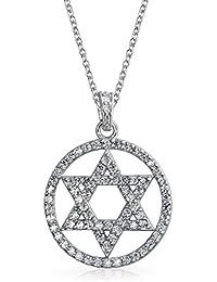 Bling Jewelry Círculo de estrella de David colgante de filigrana de plata esterlina Collar de 16 pulgadas