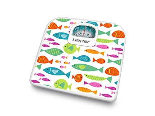 Báscula de baño analógica. Diseño peces. Cuerpo de metal y plásticos ABS. Base de plástico ABS. Peso máximo 130 kg. Graduación 1 kg. Rueda de calibrado.