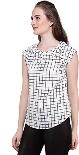 Mallory Winston White Checkered Ruffle Top