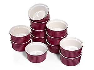 Emile Henry Pasteten Formen Keramik Set 12 Stk 9cm 150ml Muffin Cupcake Förmchen, Farbe:feige