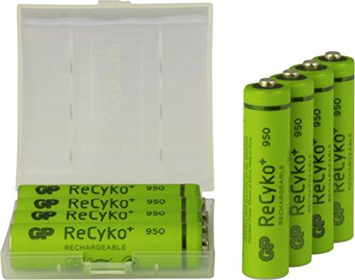 Akku Batterien NiMH AAA / Micro, 1,2V, Kapazität 950mAh, ReCyko+ LSD, ready2use - vorgeladen, GP Batteries 8 Stück inklusive praktischer Aufbewahrungsbox zum Schutz und Transport