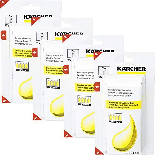 4x Kärcher 6.295-302.0 Nettoyant vitres concentré (4 x 20 ml) détergent pour nettoyeurs de vitres