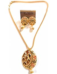 Strapzo Designer Ethnic Wear Gold Pendant Set With Pearl Drop Earrings For Women And Girls