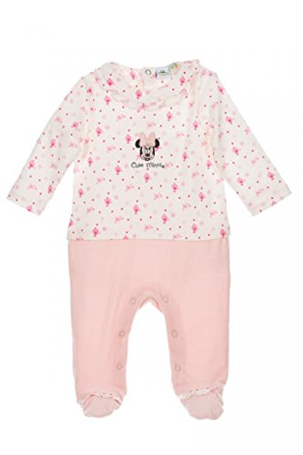 Disney Baby Strampler Mädchen weiß rosa | Motiv: Minnie Mouse | Baby Schlafanzug im Zweiteiler-Look für Neugeborene & Kleinkinder | Größe: 0-3 Monate (62) (Schlafanzug Für Disney Kleinkinder)