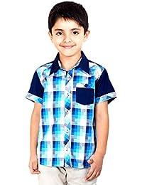 Naughty Ninos Blue Check Half Sleeve Shirt