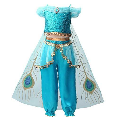 yeesn Jasmin-Kostüm für Mädchen, Prinzessin, arabische Pailletten, Prinzessinnen-Kleider, Geburtstag, Halloween, Cosplay, Kostüme Outfit für Kinder Gr. 4-5 Jahre, B Style