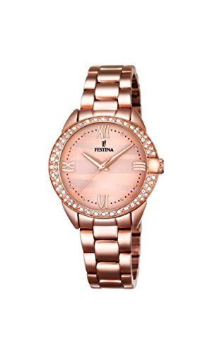 Festina MADEMOISELLE Women's Quartz Watch with Rose Gold Dial Analogue Display and Rose Gold Stainless Steel Rose Gold Plated Bracelet F16920/2