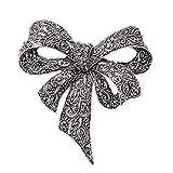 SODIAL Spille fiocco di strass epoca per le donne nero bowknot spilla pin moda gioielli cappotto accessori stile elegante