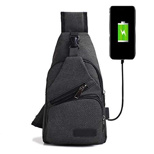 mymotto 32 x 17 x 7 cm Mochila pequeña de Lona Recargable USB para Hombres, Mochila pequeña Shoppers y Bolsos de Hombro