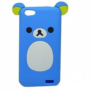 Blau 3D Nett Bär HTC One V Silikon Schutz Hülle Cover