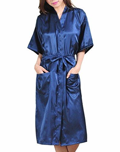 Surenow Kimono Lungo per Donna Raso Serico Kimono Accappatoio Spugna