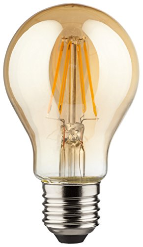 MÜLLER-LICHT 400175 A++, Retro-LED Lampe, Birnenform, ersetzt, Glas, 4W, E27, Gold, 6 x 6 x 10.6 cm (Kronleuchter Gold 6-licht)