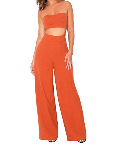 Whoinshop Damen Sexy Tube Top und Wide Leg Hose 2 Stück Cocktail Party Crepe Set Orange L (Elegant Hose Crepe)