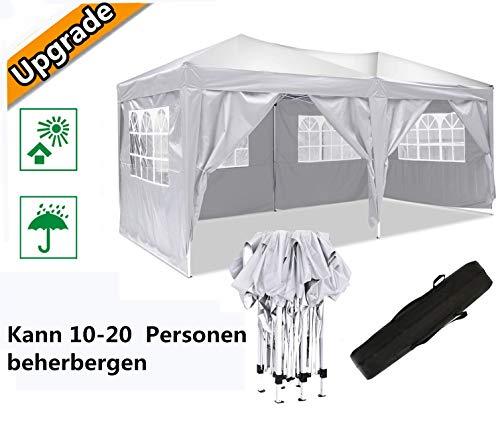 Serface Pavillon Faltpavillon 3x6 Wasserdicht Faltbare Gartenpavillon Festival Sonnenschutz Faltpavillon, UV-Schutz mit 4 Seitenteilen für Garten/Party/Hochzeit/Picknick (3x6m Weiß)