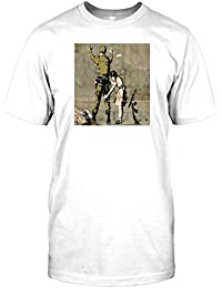 Girl and a Soldier - Banksy - Urban Art Mens T Shirt - Funny