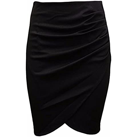 falda lapiz OL traje de mujeres de la falda paquete de algodon de la cadera falda plisada bodycone midi