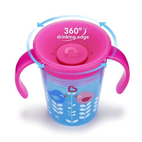 Munchkin Miracle Trinkbecher für Babys, 360° drehbar, Pink/Blau