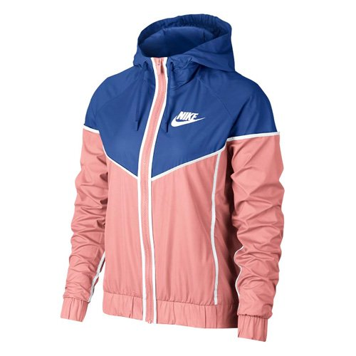 Nike Damen NSW Windrunner Windjacke, Gebleichte Koralle/Game Royal Blau/Weiß, L